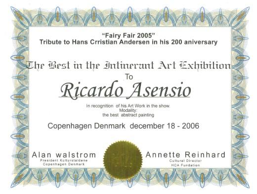 """Ricardo Asensio Primer Premio en el """"Festival Hans Christian Andersen"""" en su Bicentenario, Copenhague (Dinamarca). The best in the Intinerant Art Exhibition Copenhagen Denmark 2006"""