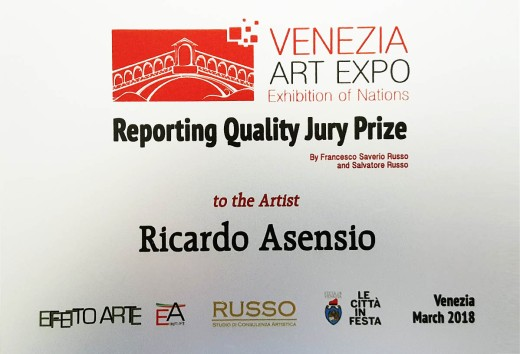 Ricardo Asensio VENEZIA ART EXPO Exhibition of Nations 'REPORTING QUALITY JURY PRIZE' Venice March 2018