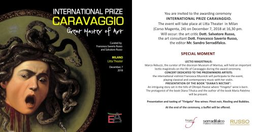 Invitation International Prize Caravaggio Milan 2018 Ricardo Asensio